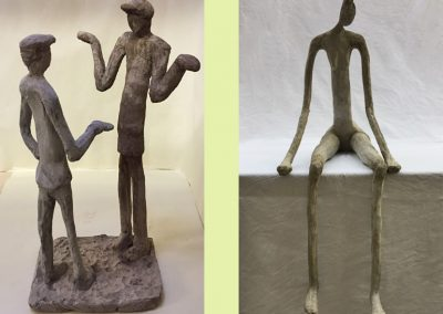 Left: I Don't Know (Brexit)    Right: Seated Figure (ciment fondu)