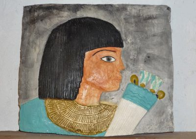 Egyptian plaque, plaster cast, acrylic paint, wax