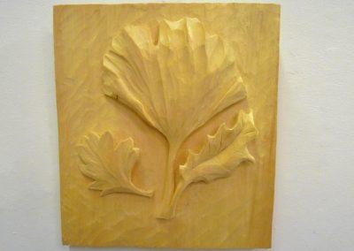 Three Leaves (Holly, Hawthorne & Ginko), lime wood