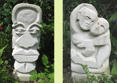 African Head (left), Embrace (right), lightweight block carvings