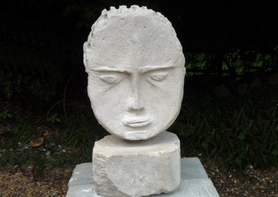 Carved Head, thermalite blocks