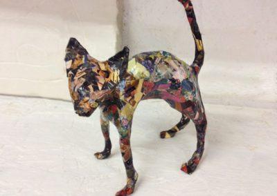 Arty Cat, papier maché