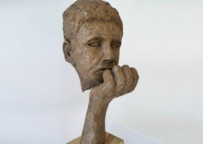 Seeking Equilibrium, bronze resin, wood base