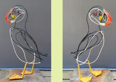 Puffin (painted wire, coloured tubing, slate base)