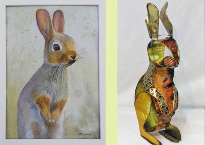 Rabbit Painting (sold) Wire & tin rabbit (private collection)