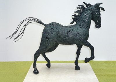 Horse, mesh, wire & chemical metal, marble base (sold)