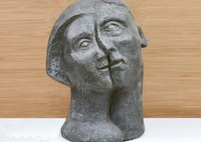 Double Head, cast aluminium resin (35cm)