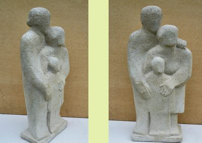 Family Group, carved thermalite (45cm)