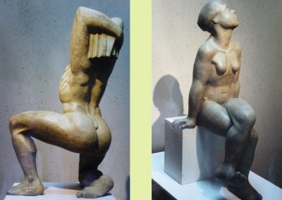 (Left) Kneeling Male, 50cm  (Right) Sitting Female (60cm, cement & resin