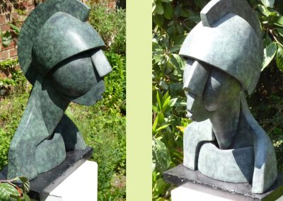 Armoured Head, cement & resin (36cm high)