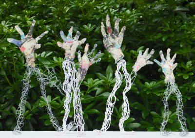 Papier maché hands for puppets