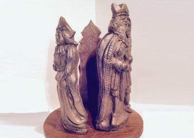 Ménage à Trois, fired clay on wood base