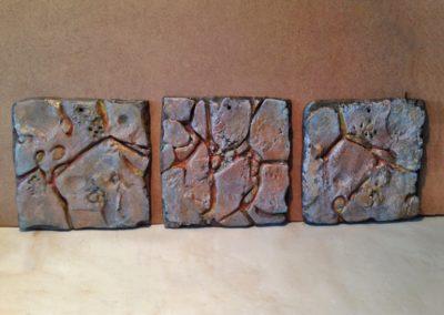 3 Plaques, ciment fondu