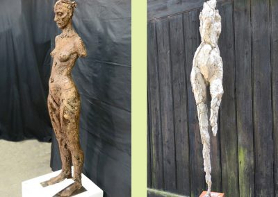 (Left) Standing Torso, patinated herculite (Right) Lucy, concrete