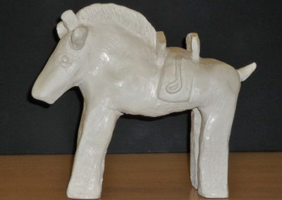 Ancient Horse, fired clay with painted finish