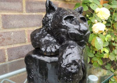 Cat, fired and glazed clay