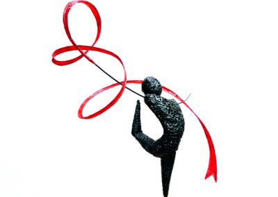 Olympic Gymnast I, wire, chemical metal, tissue paper (sold)