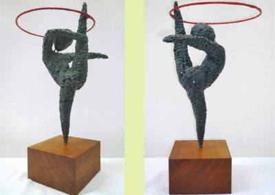 Olympic Gymnast II, wire, chemical metal, tissue paper (sold)