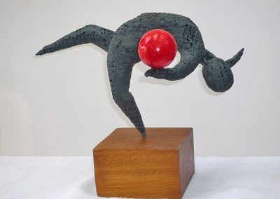 Olympic Gymnast III, wire, chemical metal, tissue paper, wood base £95
