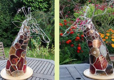 Giraffe, painted wire, tin, £225
