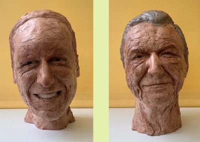 Heroic Heads Series: Prince William & David Attenborough, waxed fired clay, for charitable donation.