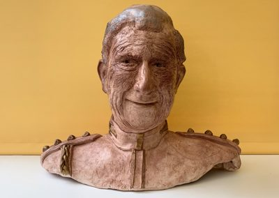 Heroic Heads Series: Prince Philip, waxed fired clay, for charitable donation.
