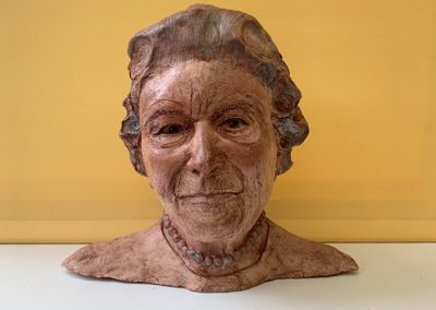 Heroic Heads Series: HM The Queen, waxed fired clay, for charitable donation.