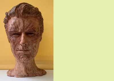 Heroic Heads Series: Clint Eastwood, waxed fired clay, for charitable donation.